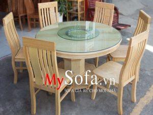bộ bàn ăn mặt bàn có thể xoay tròn