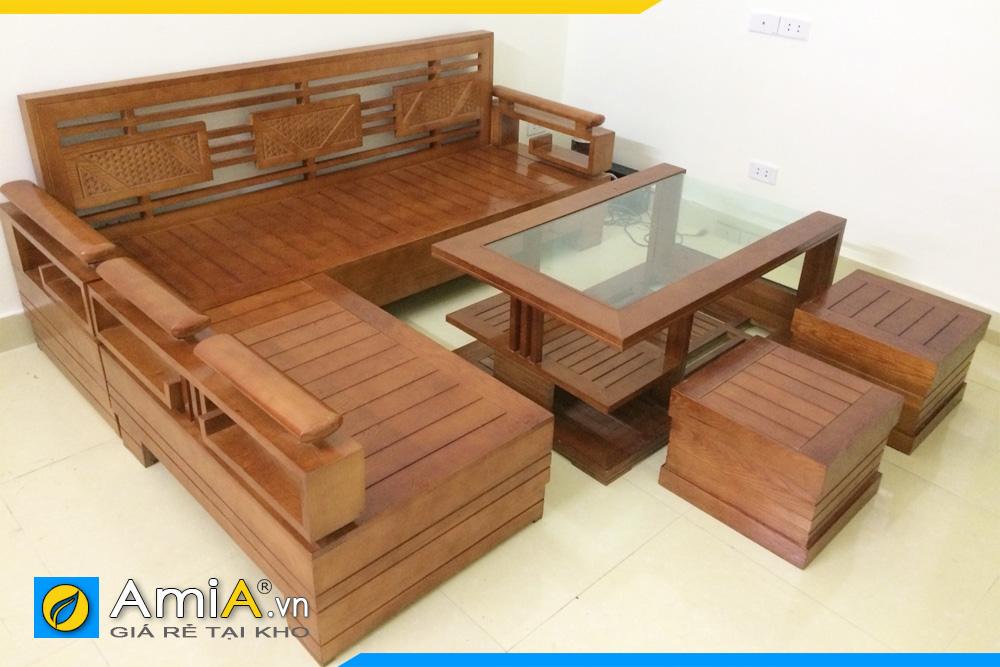 Ghế sofa gỗ góc chữ L kèm bàn trà kiểu cách