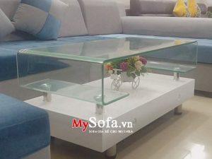 bàn sofa đẹp mặt kính uốn cong