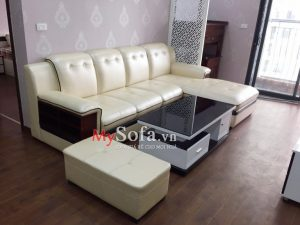 sofa da đẹp cho phòng khách hiện đại