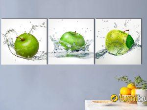 Hình ảnh Tranh phòng ăn đẹp hiện đại hình ảnh trái táo màu xanh mã 309